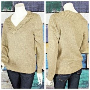 Carolyn Taylor Tan Brown V-Neck Pullover Sweater